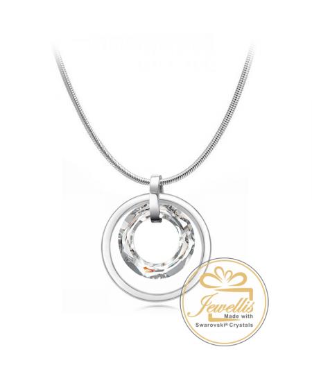 Ocelový náhrdelník ve tvaru kruhu Double Cosmic Ring Silver Night s krystalem Swarovski - chirurgická ocel 316L