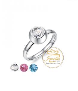 Ocelový prsten 3 v 1 na výměnu se 3 krystaly Swarovski - chirurgická ocel 316L