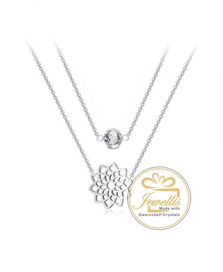 Ocelový dvojitý náhrdelník Lotus Crystal s krystalem Swarovski - chirurgická ocel 316L
