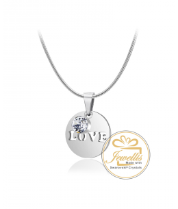 Ocelový náhrdelník Round Love s krystalem Swarovski - chirurgická ocel 316L