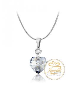 Ocelový náhrdelník Princess Heart s krystalem Swarovski - chirurgická ocel 316L