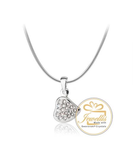 Ocelový náhrdelník ve tvaru srdce Heart Pavé s krystaly Swarovski - chirurgická ocel 316L