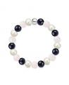 Náramek z přírodních kamenů a perly Swarovski - růženín a modrý avanturín