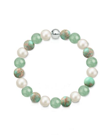 Náramek z přírodních kamenů a perly Swarovski - avanturín a tyrkysový regalit