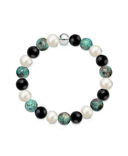 Náramek z přírodních kamenů a perly Swarovski - oceánský achát a černý achát