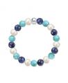 Náramek z přírodních kamenů a perly Swarovski - sodalit a tyrkys