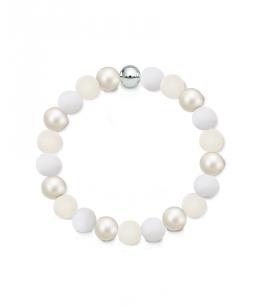 Náramek z přírodních kamenů a perly Swarovski - bílý jadeit a vápenec