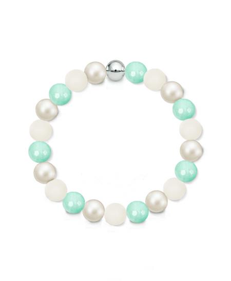 Náramek z přírodních kamenů a perly Swarovski - mentolový mint jadeit a vápenec
