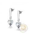 Ocelové visací náušnice Dangle Hearts ve tvaru srdce s krystaly Swarovski - chirurgická ocel 316L