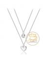 Ocelový dvojitý náhrdelník Double Chain Cristal ve tvaru srdce s krystalem Swarovski - chirurgická ocel 316L