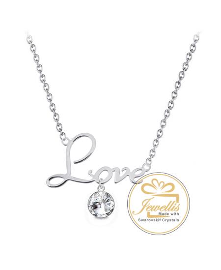 Ocelový náhrdelník Rivoli Love s krystalem Swarovski - chirurgická ocel 316L