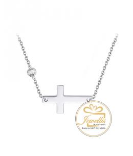 Ocelový náhrdelník Cross Chaton ve tvaru kříže s krystalem Swarovski - chirurgická ocel 316L