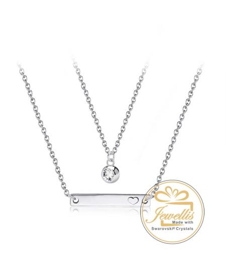 Ocelový dvojitý náhrdelník Plate Crystal Double s krystalem Swarovski - chirurgická ocel 316L