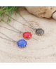 Ocelový náhrdelník Gemstone Crown s přírodním kamenem - chirurgická ocel 316L