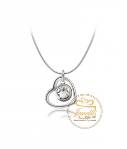 Ocelový náhrdelník ve tvaru srdce Romantic Heart Chaton s krystalem Swarovski - chirurgická ocel 316L