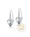 Ocelové visací náušnice Love Dangle Hearts ve tvaru srdce s krystaly Swarovski - chirurgická ocel 316L