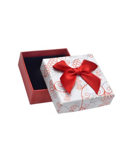 Dárková krabička - bílo-červená s diamanty a mašličkou