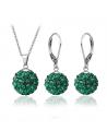 Elegantní ocelová sada Shamballa Discoballs - Emerald