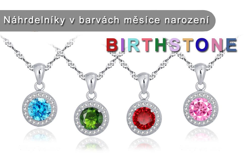 Stříbrný náhrdelník Birthstone se zirkony